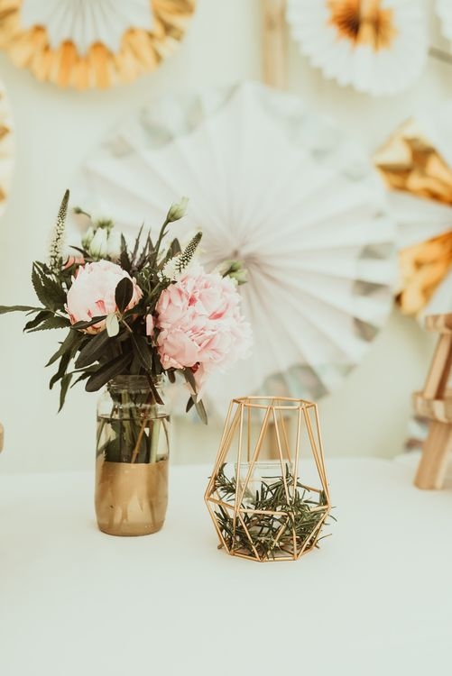 Spray Painted Bottles with Flower Stems | DIY At Home Marquee Reception | Jess Soper Photography