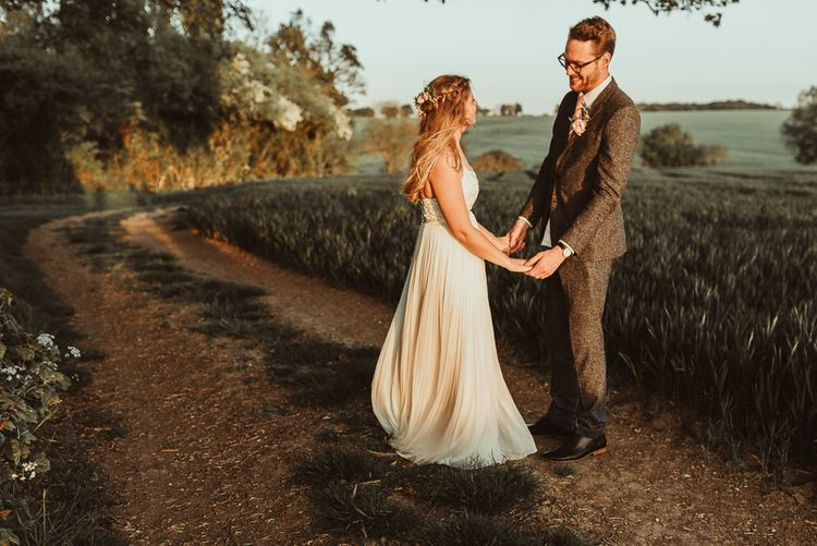 Bride in Catherine Deane Separates | Groom in Reiss Suit | DIY At Home Marquee Reception | Jess Soper Photography