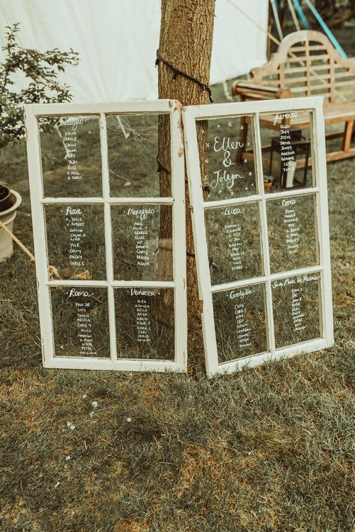 Window Pane Table Plan | DIY At Home Marquee Reception | Jess Soper Photography