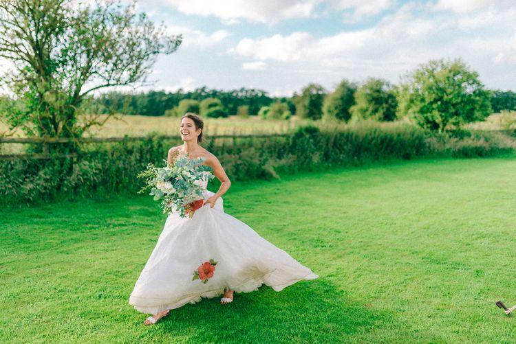 Floral Print Wedding Dress by Alan Hannah