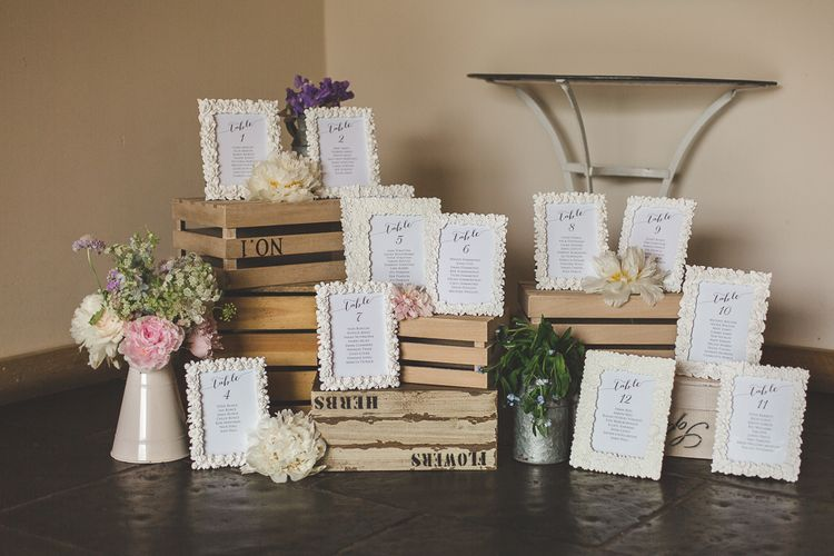 Rustic Table Plan For Wedding Using Photo Frames