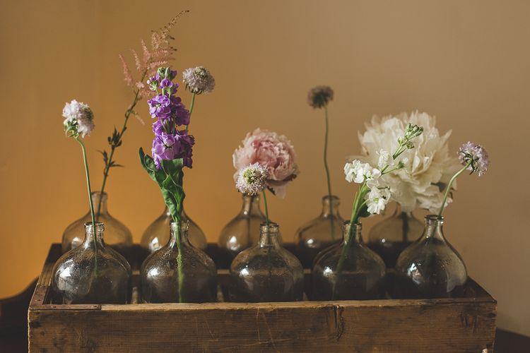 Budvases In Wooden Crate Wedding Decor