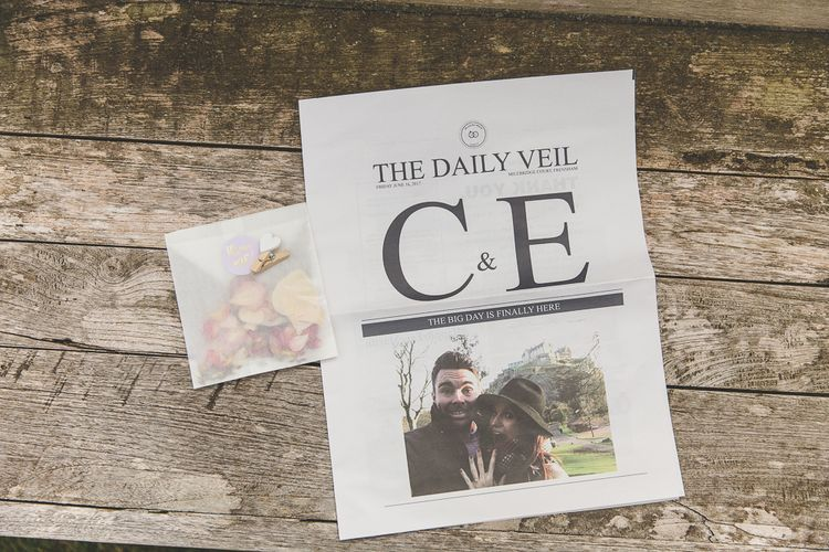 Personalised Wedding Newspaper For Order Of Service