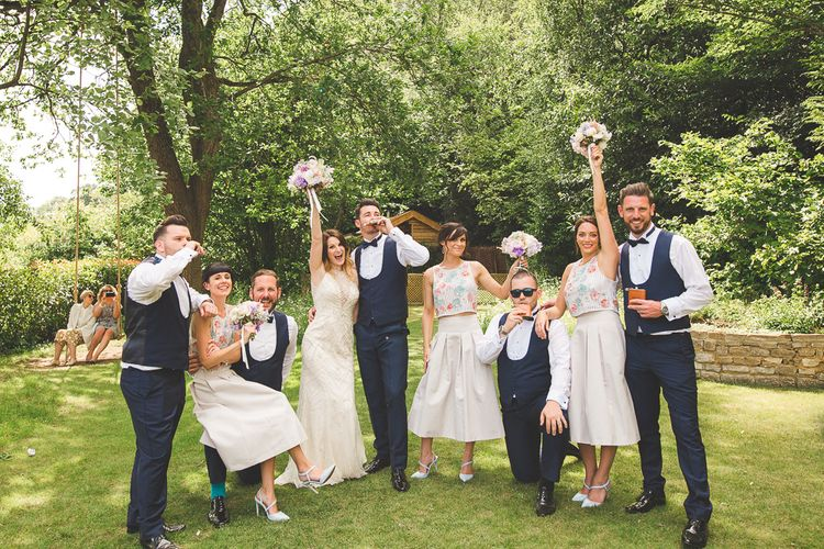 Millbridge Court Wedding Outdoor Ceremony & Pastel Flowers With Bride In Embellished Dress & Bridesmaids In Sequinned Coast Tops Images Kirsty Mackenzie