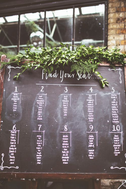 Chalkboard Table Plan For Wedding