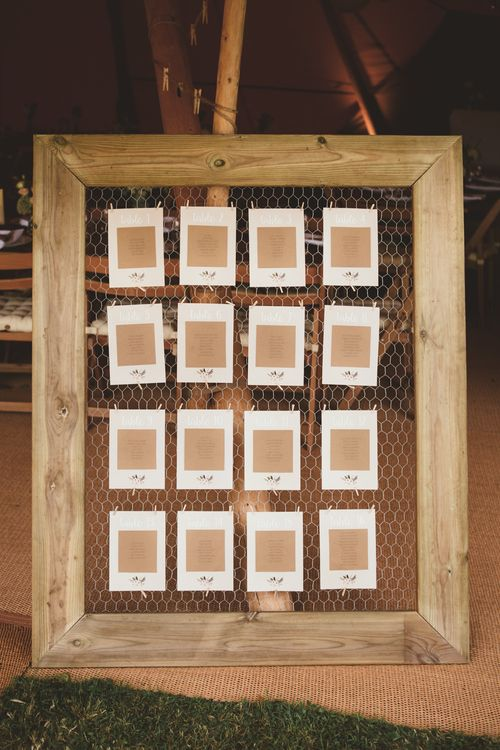 Wooden Chicken Wire Frame Table Plan | Maryanne Weddings Photography