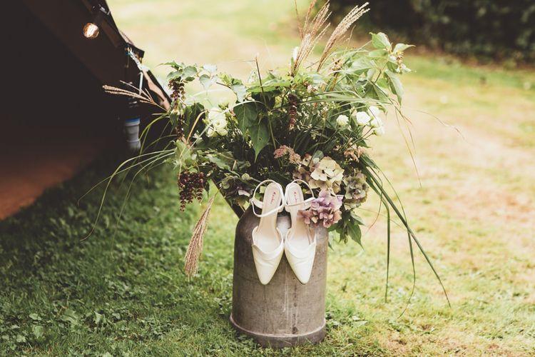 Rainbow Club Bridal Shoes | Flower Filled Milk Urn | Maryanne Weddings Photography