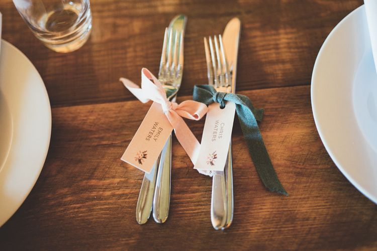 Ribbon Tied Cutlery with Place Name Tags | Maryanne Weddings Photography