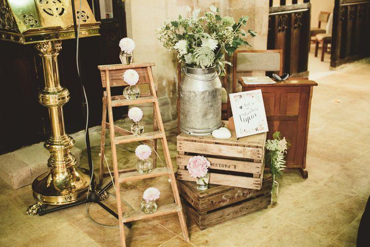 Rustic Crate & Step Ladder Wedding Decor | Maryanne Weddings Photography
