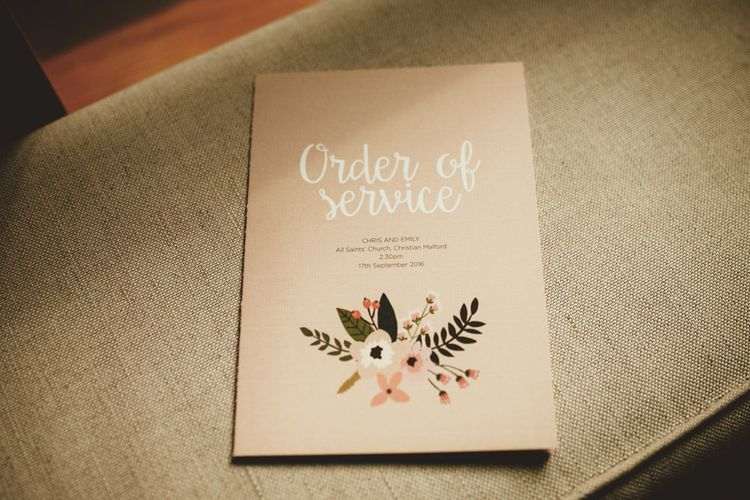 Floral Order of Service Wedding Stationery | Maryanne Weddings Photography