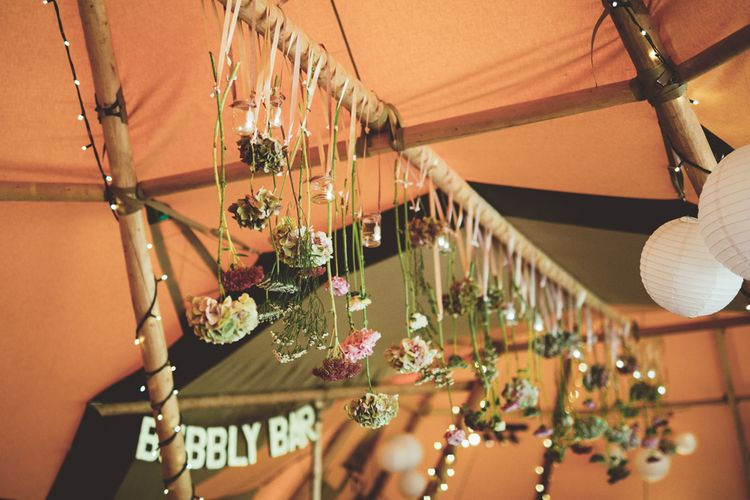 DIY Hanging Flower Stem Wedding Decor | Maryanne Weddings Photography
