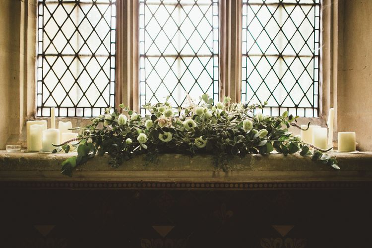 Church Window Ledge Floral Arrangement | Maryanne Weddings Photography