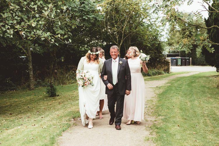 Bride in Something Old Something New Bridal Gown | Bridesmaids in Pink Hobbs Dresses | Maryanne Weddings Photography