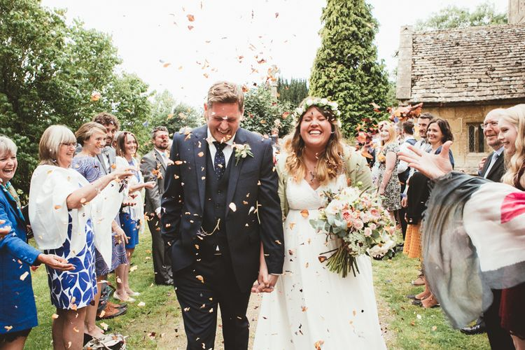 Confetti Moment | Bride in Something Old Something New Bridal Gown | Groom in Marks and Spencer Suit | Maryanne Weddings Photography