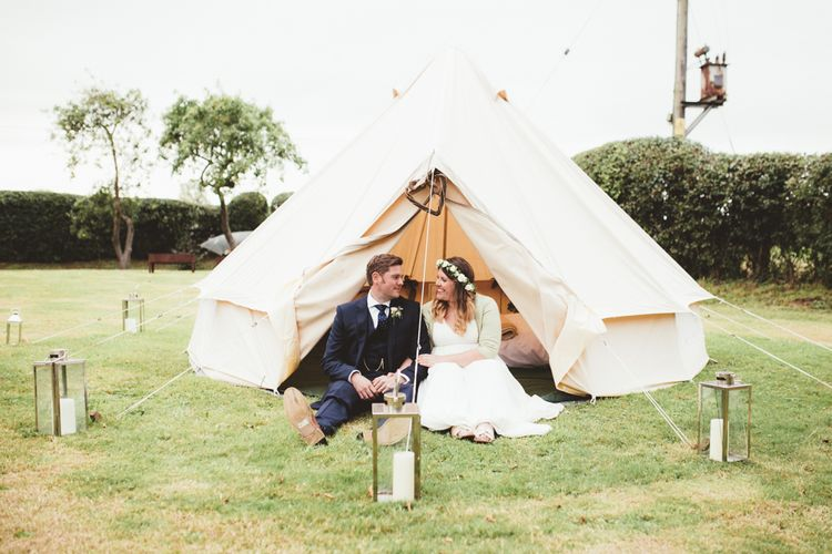 Bell Tent | Bride in Something Old Something New Bridal Gown | Groom in Marks and Spencer Suit | Maryanne Weddings Photography
