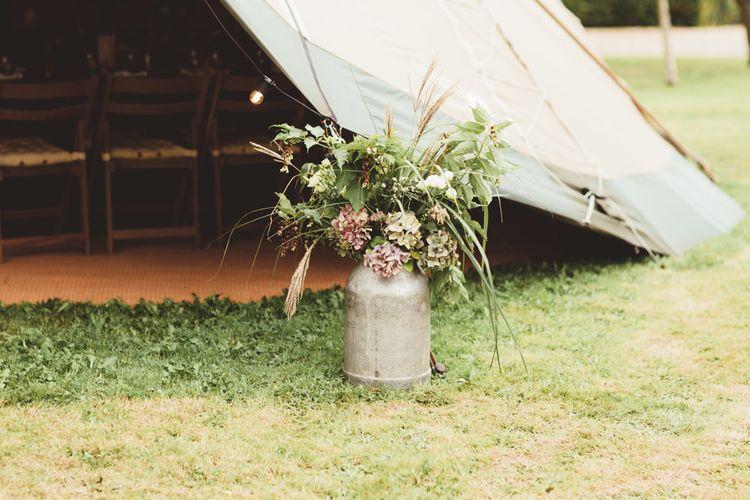 Flower Filled Milk Urn | Maryanne Weddings Photography