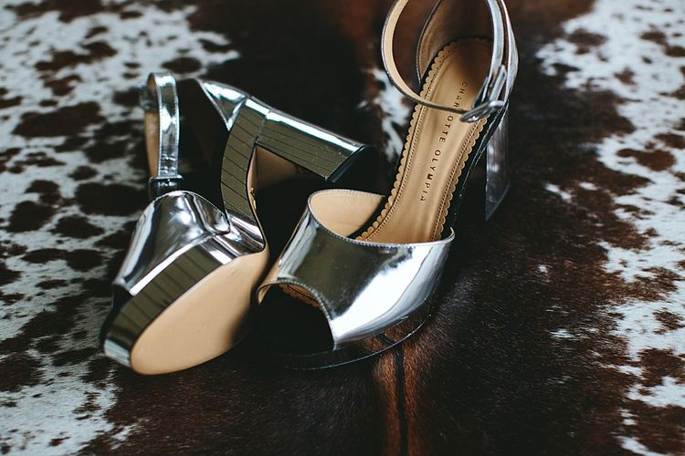 Silver Charlotte Olympia Shoes | At Home Greenery Filled Marquee Wedding in Yorkshire | Craig Williams Photography