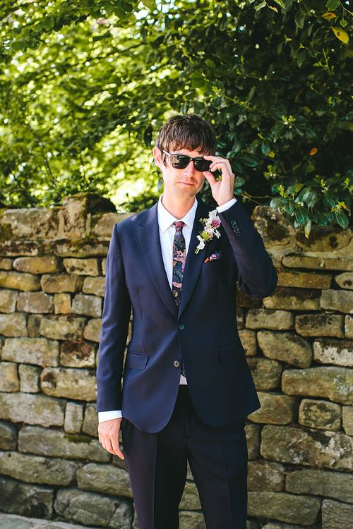 Groom in Navy Suit | At Home Greenery Filled Marquee Wedding in Yorkshire | Craig Williams Photography