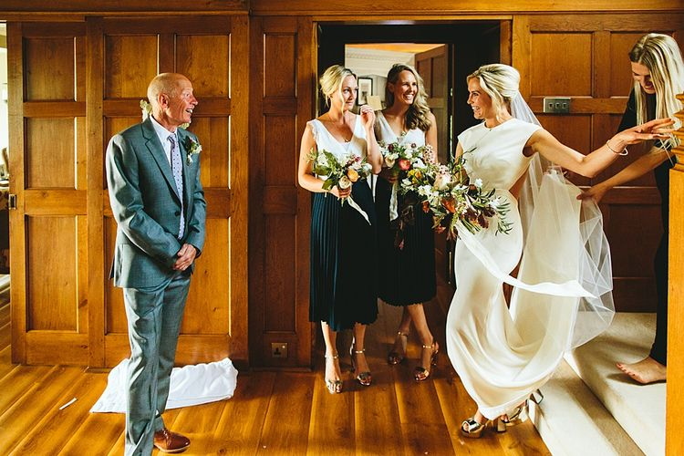 Bridal Entrance in Bespoke Gown | At Home Greenery Filled Marquee Wedding in Yorkshire | Craig Williams Photography