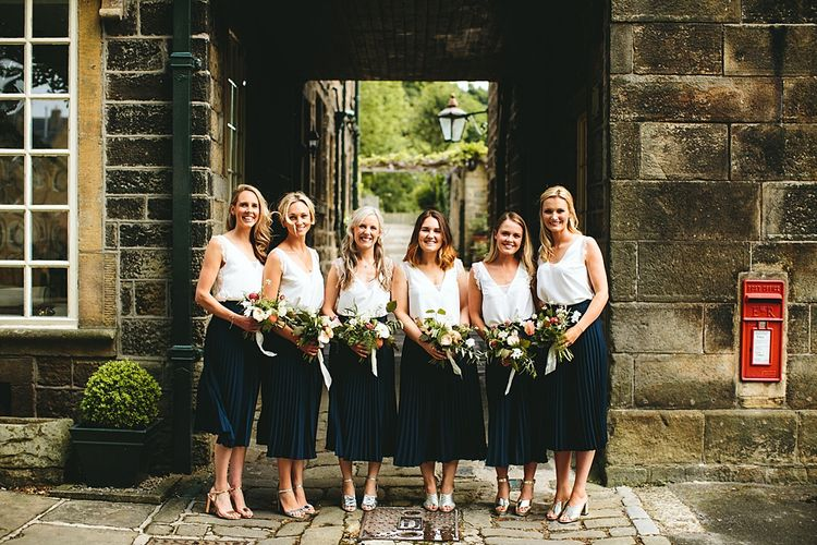 Bridesmaid Separates | Navy & Other Stories Skirt | White ASOS Top | At Home Greenery Filled Marquee Wedding in Yorkshire | Craig Williams Photography