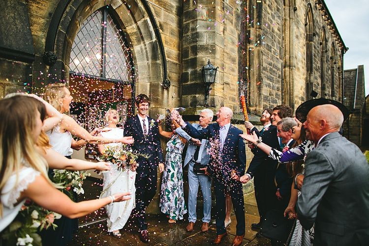 Confetti Moment | Bride in Bon Bride Bespoke Gown | Groom in Navy Paul Smith Suit | At Home Greenery Filled Marquee Wedding in Yorkshire | Craig Williams Photography