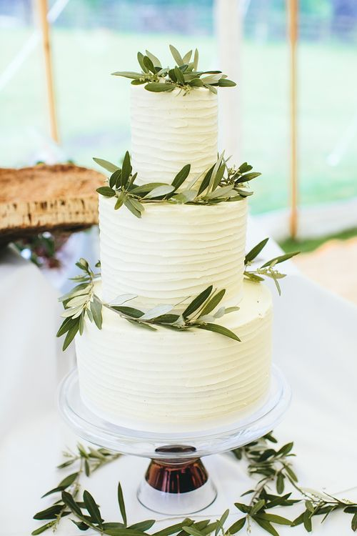 Frosted Wedding Cake | At Home Greenery Filled Marquee Wedding in Yorkshire | Craig Williams Photography
