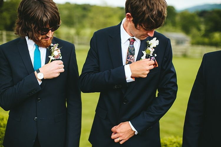 Groomsmen in Navy Paul Smith Suit s| At Home Greenery Filled Marquee Wedding in Yorkshire | Craig Williams Photography