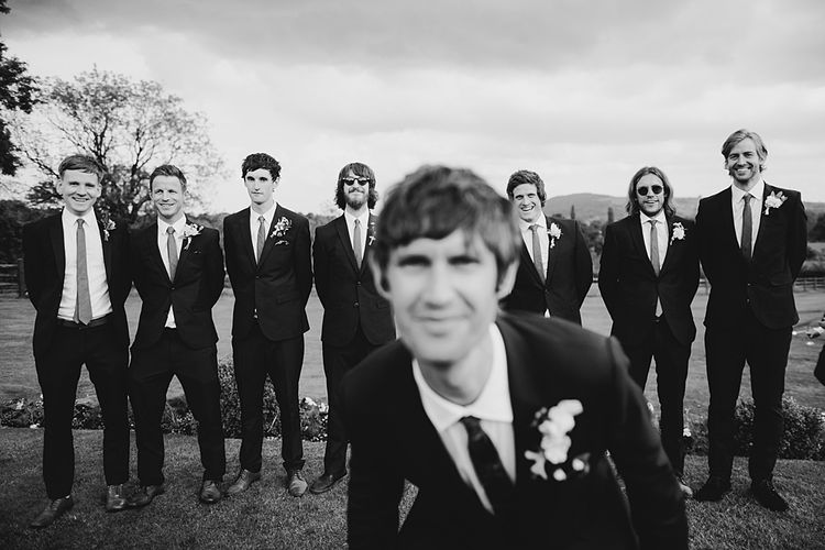 Groomsmen in Navy Paul Smith Suits | At Home Greenery Filled Marquee Wedding in Yorkshire | Craig Williams Photography