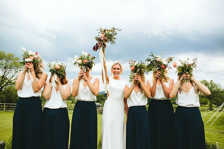 Bridal Party | Bespoke Bon Bride Gown | Bridesmaid Separates | At Home Greenery Filled Marquee Wedding in Yorkshire | Craig Williams Photography