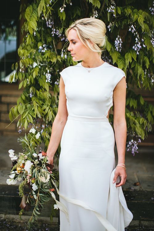 Bride in Bespoke Bon Bride Gown | At Home Greenery Filled Marquee Wedding in Yorkshire | Craig Williams Photography