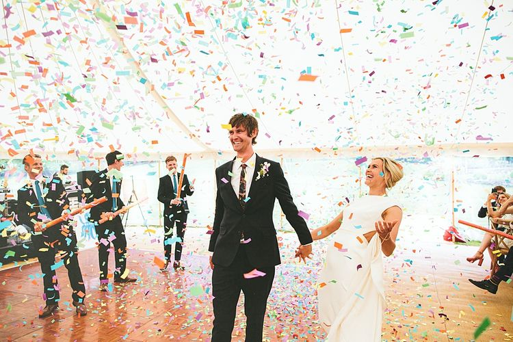 Confetti Bomb | At Home Greenery Filled Marquee Wedding in Yorkshire | Craig Williams Photography