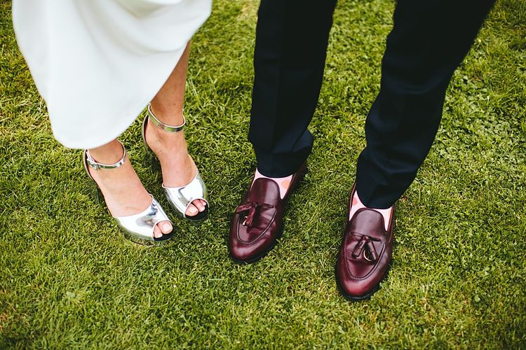 Wedding Shoes | At Home Greenery Filled Marquee Wedding in Yorkshire | Craig Williams Photography