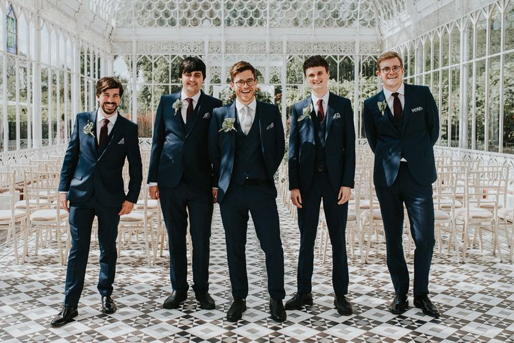Groomsmen in Moss Bros Suits | Botanical Orangery Wedding at Horniman Museum & Gardens, London | Fern Edwards Photography