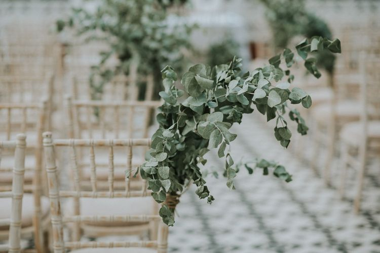 Eucalyptus Chair Aisle Decor | Botanical Orangery Wedding at Horniman Museum & Gardens, London | Fern Edwards Photography