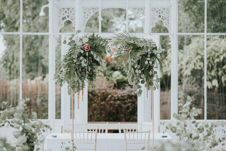 Eucalyptus & Greenery Foliage Altar Decor | Botanical Orangery Wedding at Horniman Museum & Gardens, London | Fern Edwards Photography