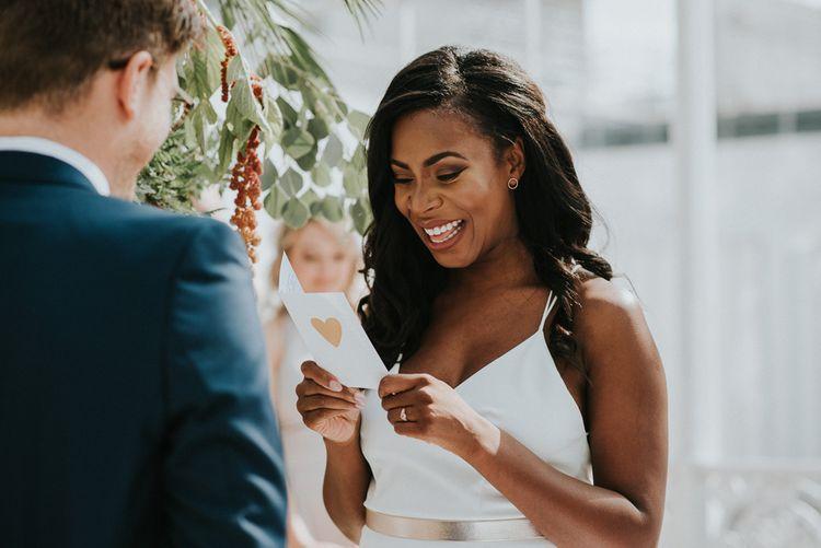 Wedding Ceremony | Vows | Bride in Charlie Brear Gown | Botanical Orangery Wedding at Horniman Museum & Gardens, London | Fern Edwards Photography