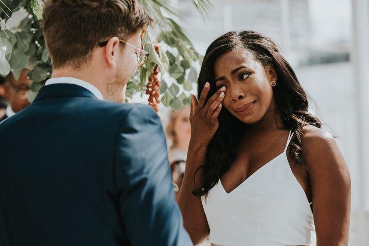 Wedding Ceremony | Vows | Emotional Bride in Charlie Brear Gown | Botanical Orangery Wedding at Horniman Museum & Gardens, London | Fern Edwards Photography