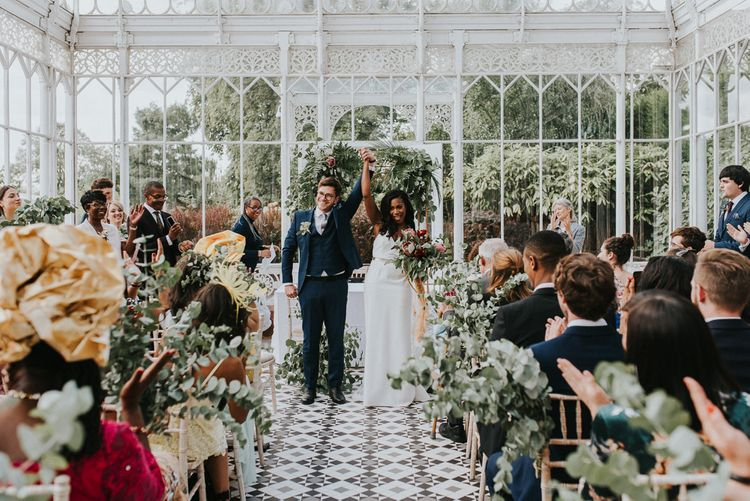 Wedding Ceremony | Bride in Charlie Brear Gown | Groom in Moss Bros Suit | Botanical Orangery Wedding at Horniman Museum & Gardens, London | Fern Edwards Photography