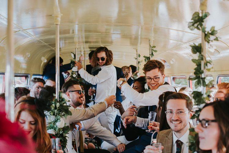 London Bus Wedding Transport | Botanical Orangery Wedding at Horniman Museum & Gardens, London | Fern Edwards Photography