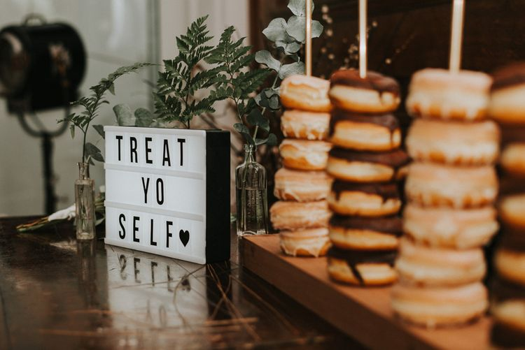 Doughnut Cake Table | City Wedding at Town Hall Hotel, Bethnal Green | Fern Edwards Photography