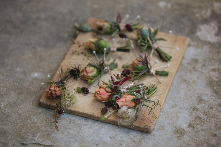 Buttonholes For Wedding // Helen Lisk Photography // Pennard House Somerset Wedding