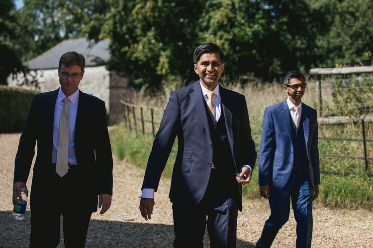 Groom & Groomsmen In Navy Suits // Helen Lisk Photography // Pennard House Somerset Wedding