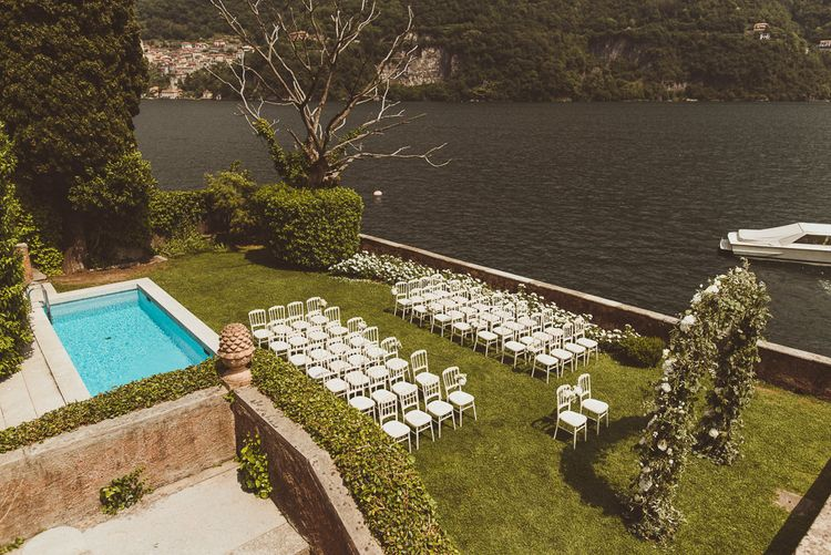 Pool Side Ceremony | Outdoor Destination Wedding at Villa Regina Teodolinda, Lake Como, Italy | Matt Penberthy Photography