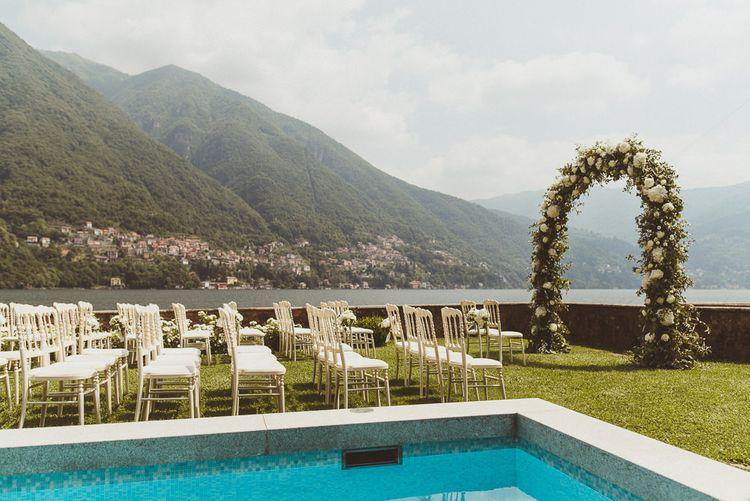 Pool Side Wedding Ceremony | Outdoor Destination Wedding at Villa Regina Teodolinda, Lake Como, Italy | Matt Penberthy Photography