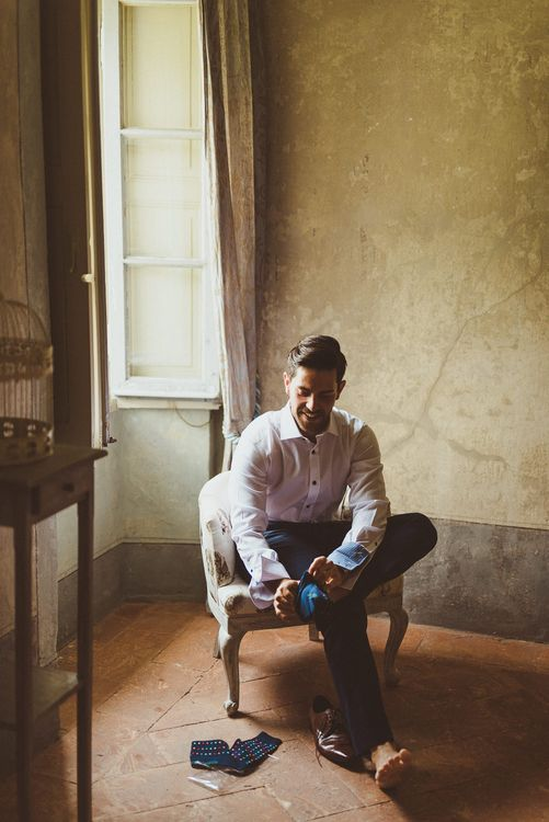 Groom in Navy Peter Jackson Suit | Outdoor Destination Wedding at Villa Regina Teodolinda, Lake Como, Italy | Matt Penberthy Photography