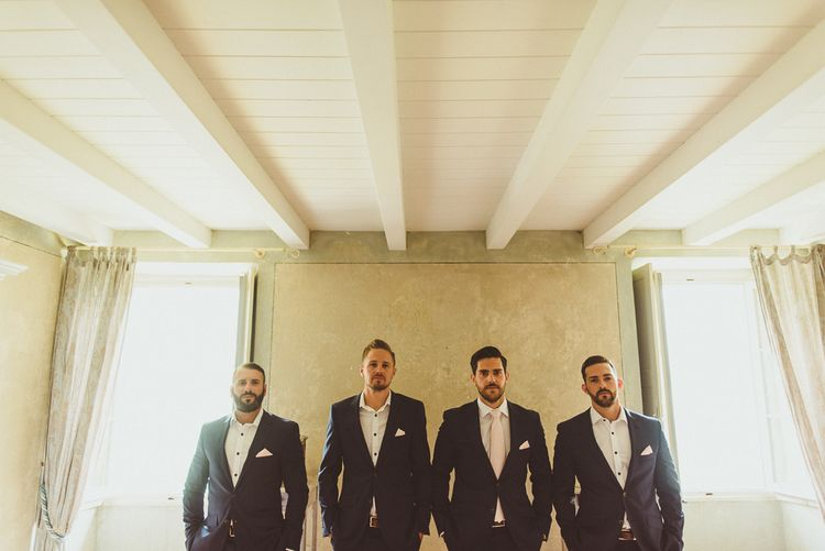 Groomsmen in Navy Peter Jackson Suits | Outdoor Destination Wedding at Villa Regina Teodolinda, Lake Como, Italy | Matt Penberthy Photography