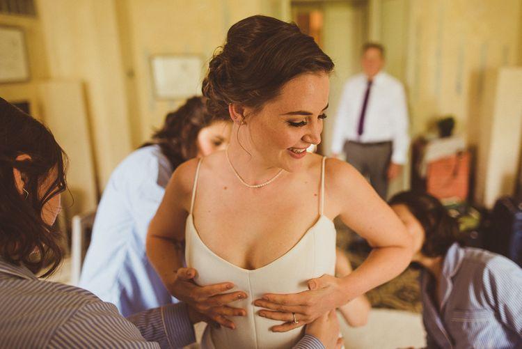 Getting Ready | Bride in Karen Willis Holmes Gown | Outdoor Destination Wedding at Villa Regina Teodolinda, Lake Como, Italy | Matt Penberthy Photography