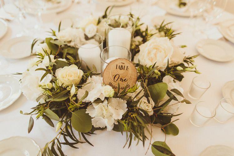 White & Green Floral Centrepiece | Outdoor Destination Wedding at Villa Regina Teodolinda, Lake Como, Italy | Matt Penberthy Photography