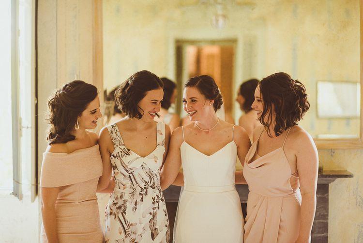 Bridal Party | Bridesmaids in Different Blush Dresses | Bride in Karen Willis Holmes Gown | Outdoor Destination Wedding at Villa Regina Teodolinda, Lake Como, Italy | Matt Penberthy Photography