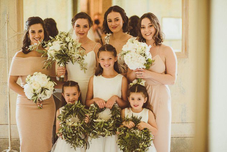 Bridal Party | Bridesmaids in Different Blush Dresses | Flower Girls in Monsoon | Bride in Karen Willis Holmes Gown | Outdoor Destination Wedding at Villa Regina Teodolinda, Lake Como, Italy | Matt Penberthy Photography